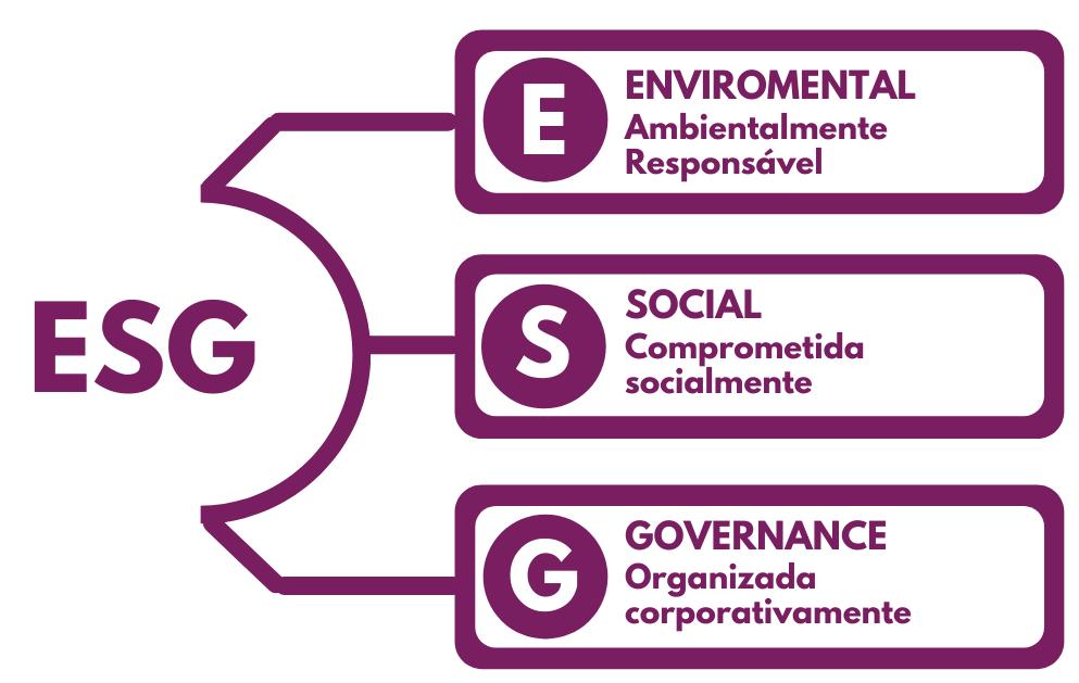 a imagem mostra o que significa a sigla ESG. E de Enviromental S de Social e G de Governance. Entenda o que tem a ver com marketing